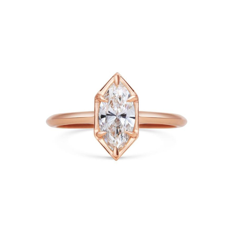 Geometric rose gold engagement ring