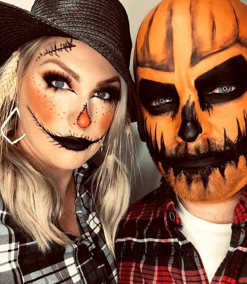 Couples Halloween Costumes pumpkin and scarecrow
