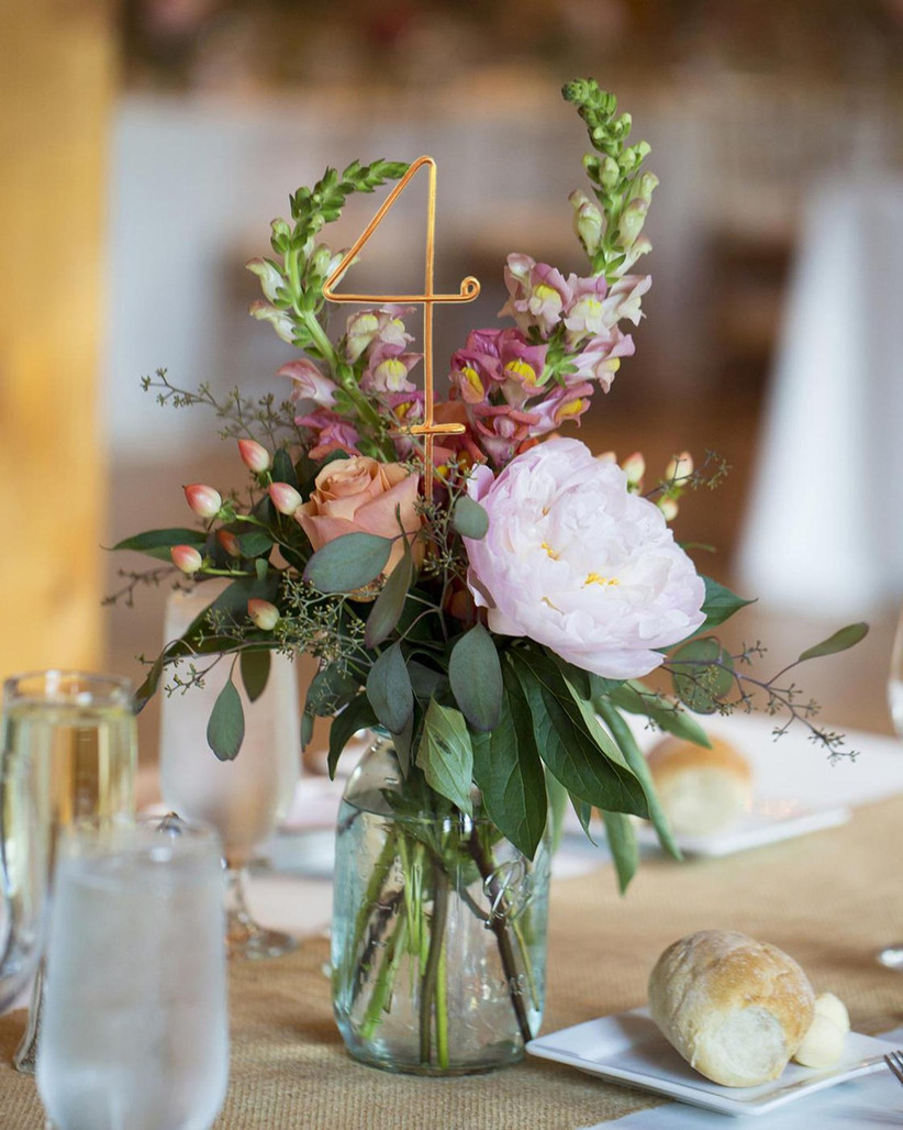 Copper wedding table number
