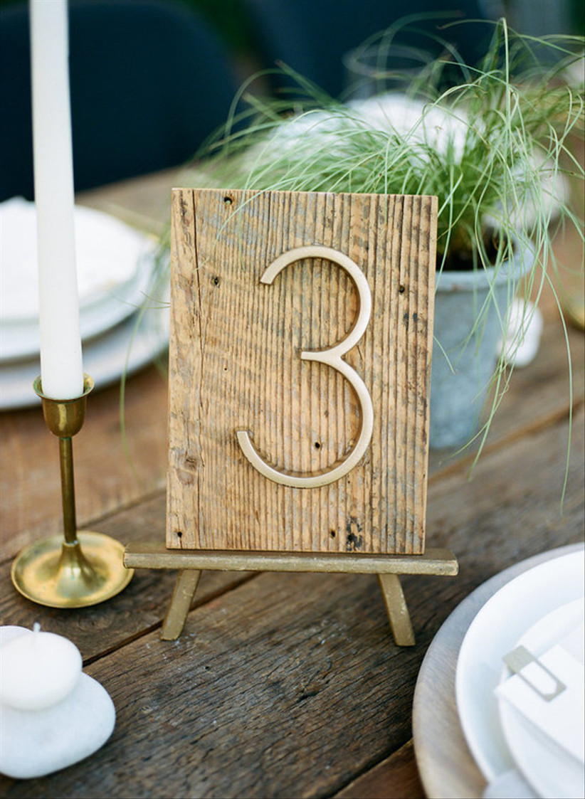 Textured plank wedding table number