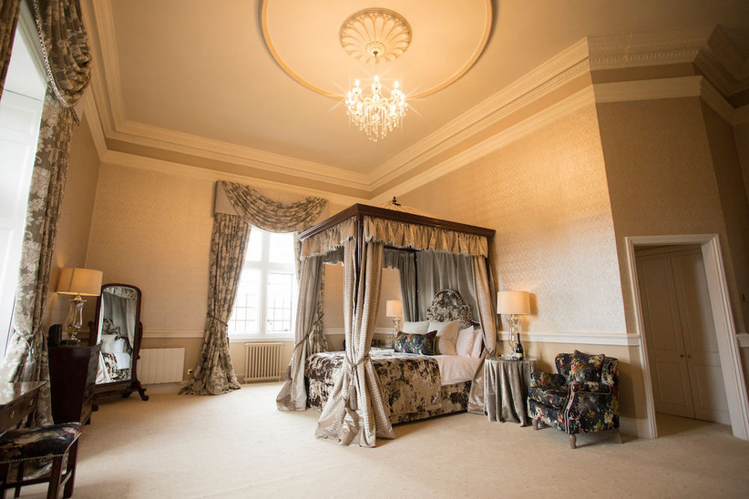 Bedroom of bridal suite at Clearwell Castle