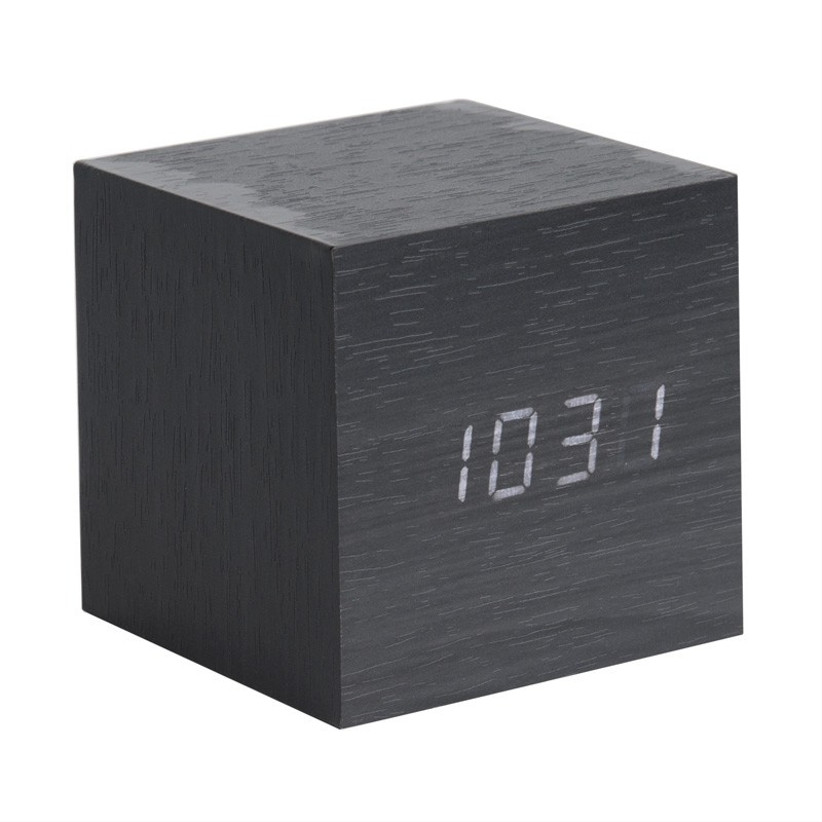 Black cube LED alarm clock