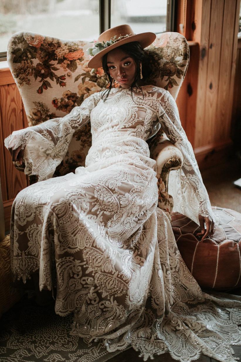 Bride wearing a boho wedding dress