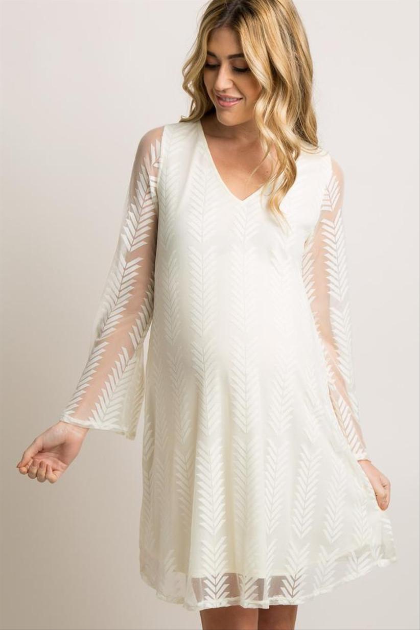 Maternity wedding dress with chevron mesh overlay