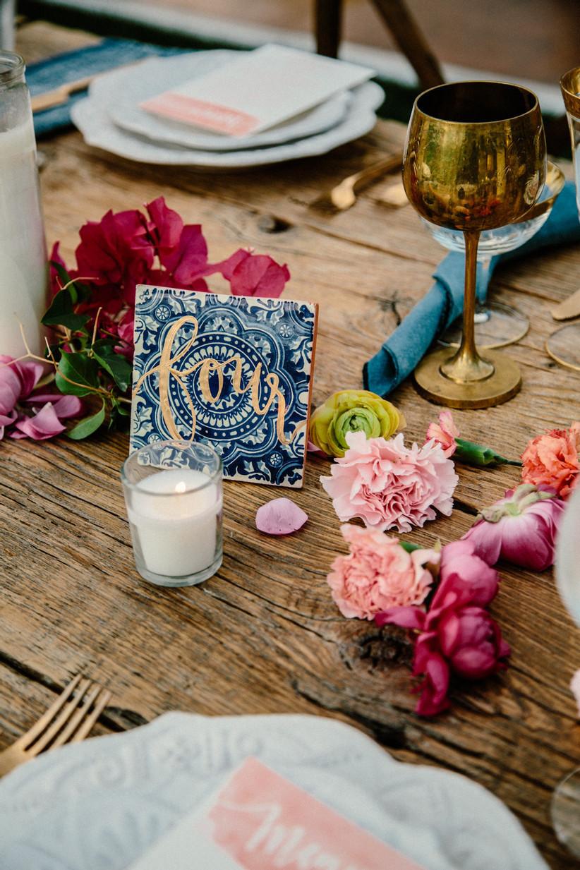 Tile wedding table number