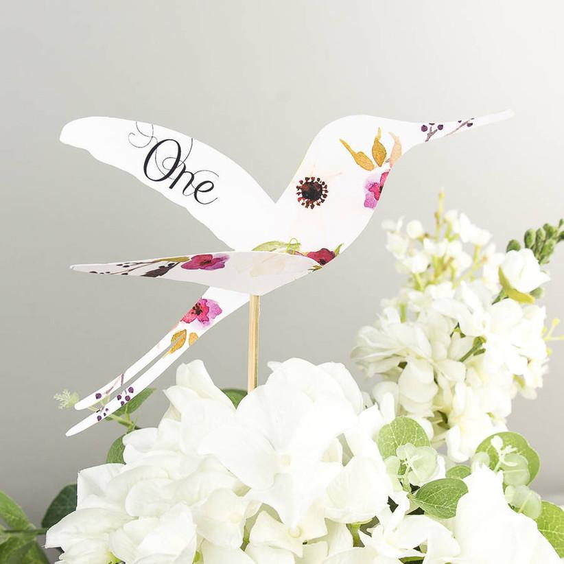 Hummingbird wedding table number