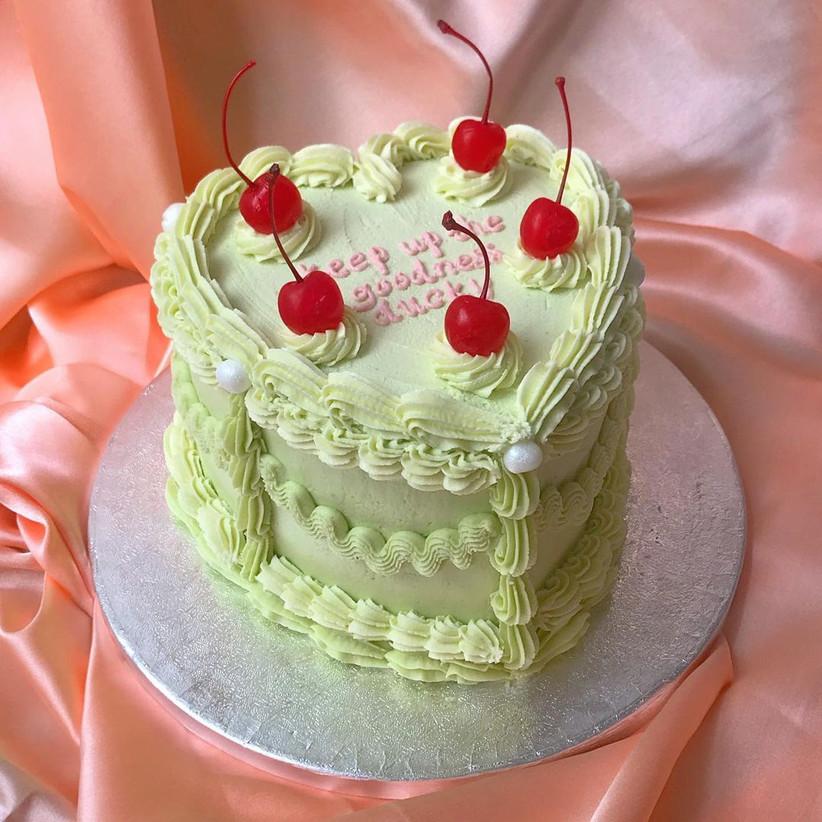 Green heart-shaped cake