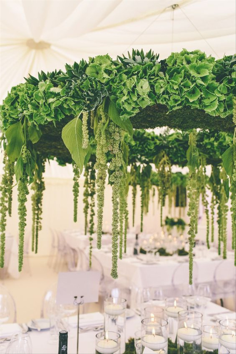Greenery hanging wedding table display