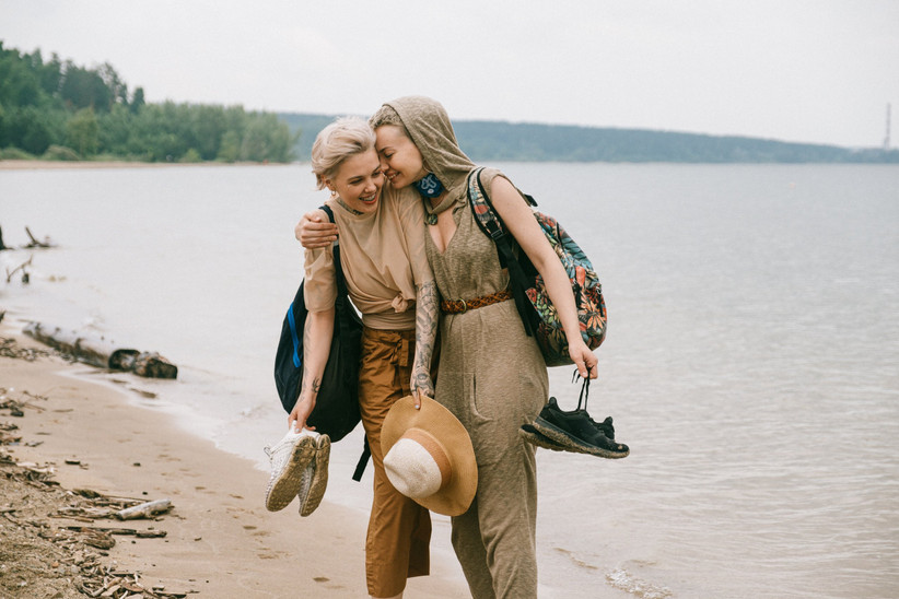 Same sex couple at the beach