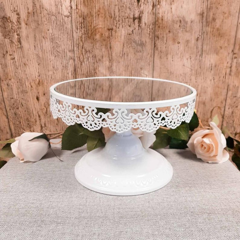 Mirrored white lace style wedding cake stand