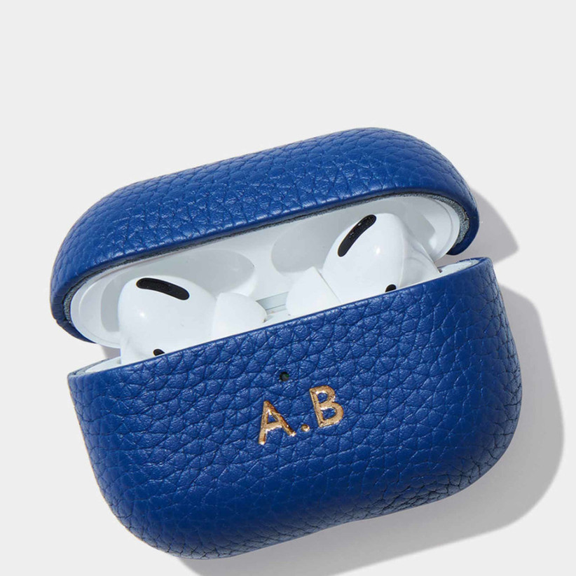 Personalised blue leather Airpod case