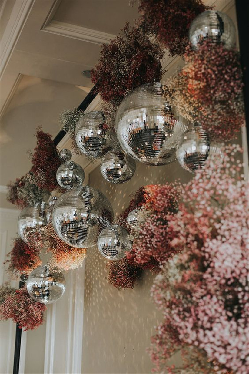 Hanging flowers with disco balls