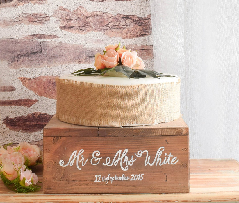 Personalised rustic wooden box cake stand
