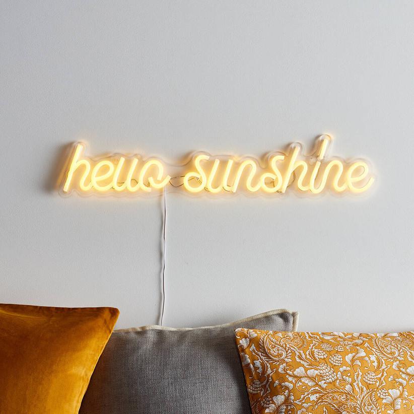 hello sunshine neon sign