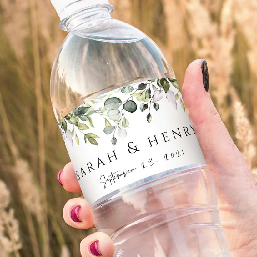 Personalised wedding water bottle