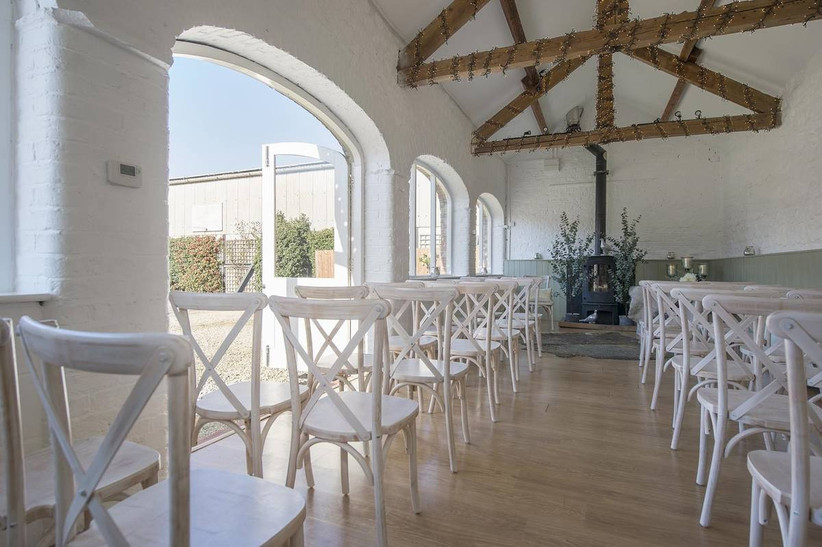 Wedding ceremony area with large doors