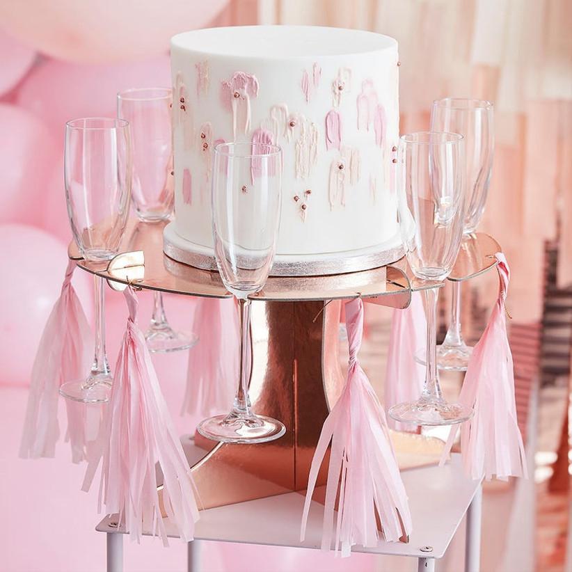 Rose gold flute glass holder wedding cake stand