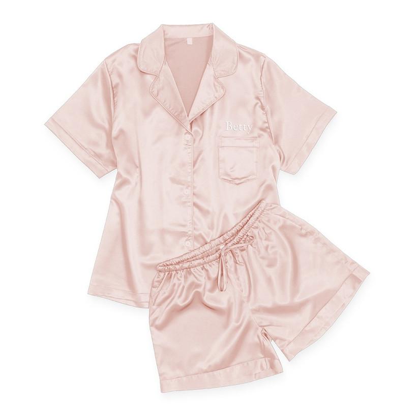 Pink satin personalised pyjamas