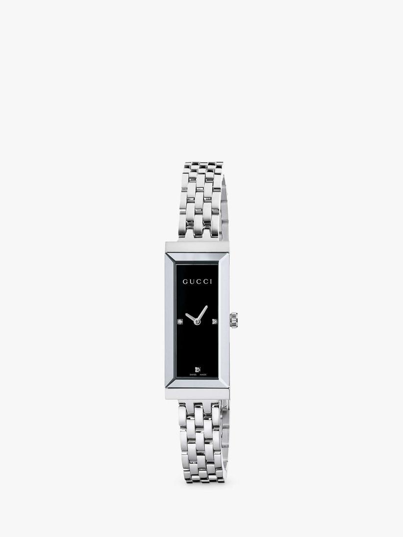 Gucci silver and diamond watch