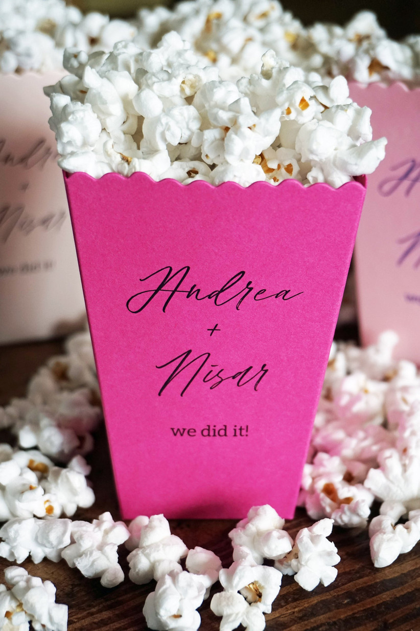Pink personalised popcorn boxes