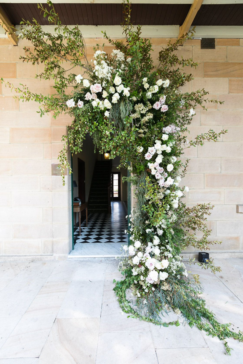 Rose and foliage hanging doorway arch