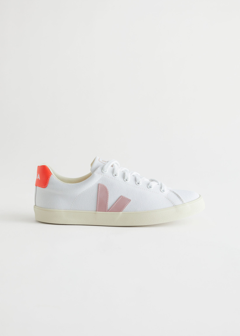 Orange and pink Veja trainers