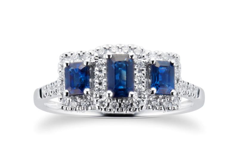 Three sapphire emerald cut
