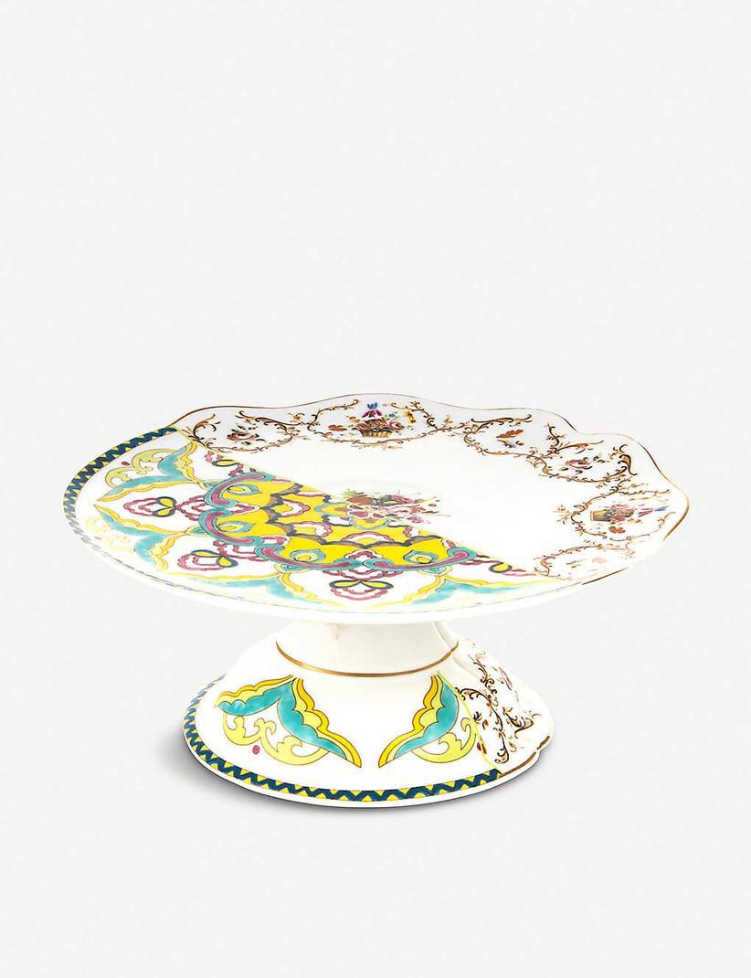 Bone china colourful wedding cake stand