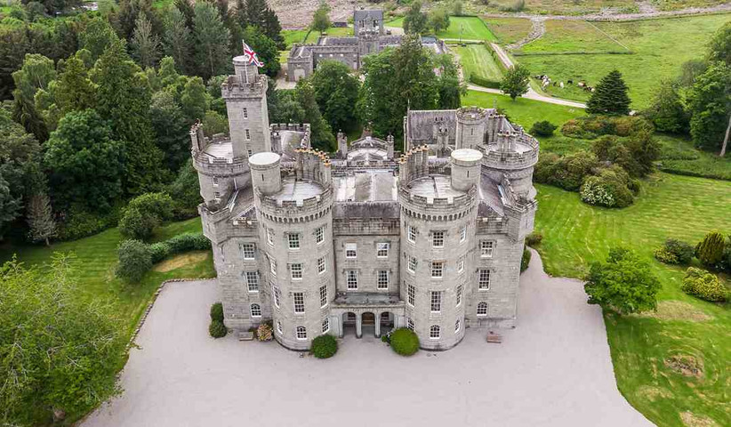 Aerial shot of the exterior of Cluny Castle