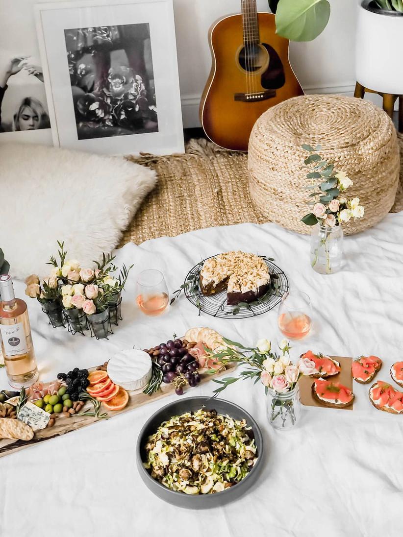 Picnic spread at home