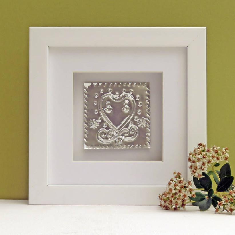 Framed tin heart