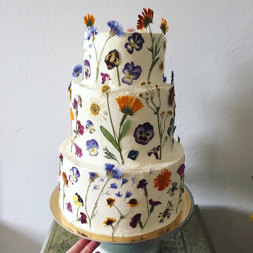 lemon and olive oil floral wedding cake