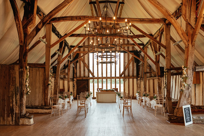 Ceremony set up in the barn