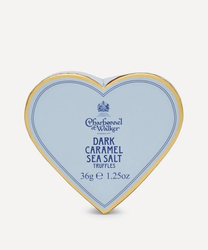 Baby blue heart shaped box of Charbonnel et Walker dark caramel and sea salt truffles