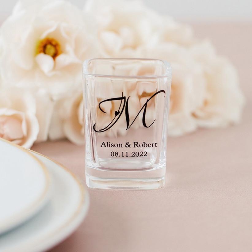 Personalised wedding shot glass