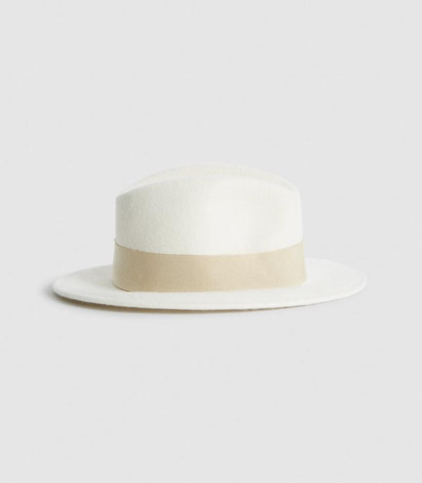 Ivory felt fedora hat