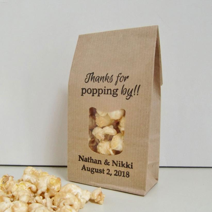 Brown paper popcorn bag