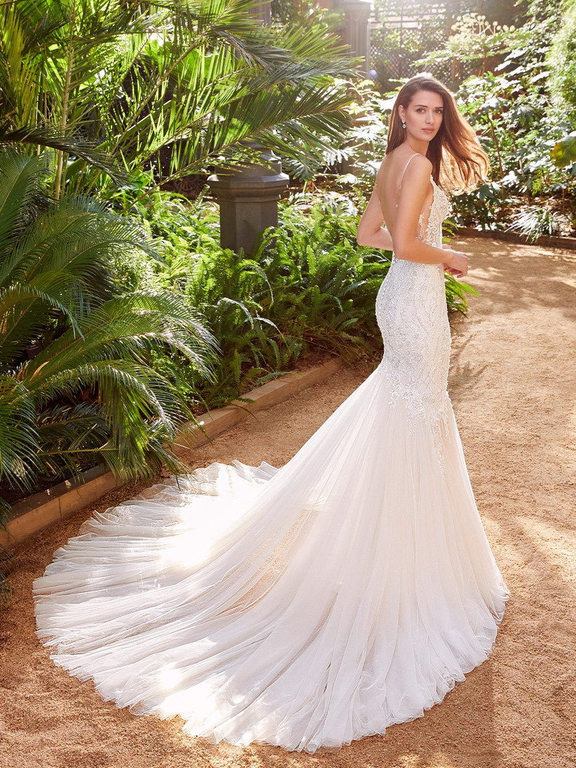 Pebbles lace and chiffon wedding dress with low back