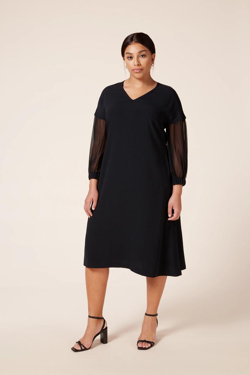 Black dress with sheer long sleeves