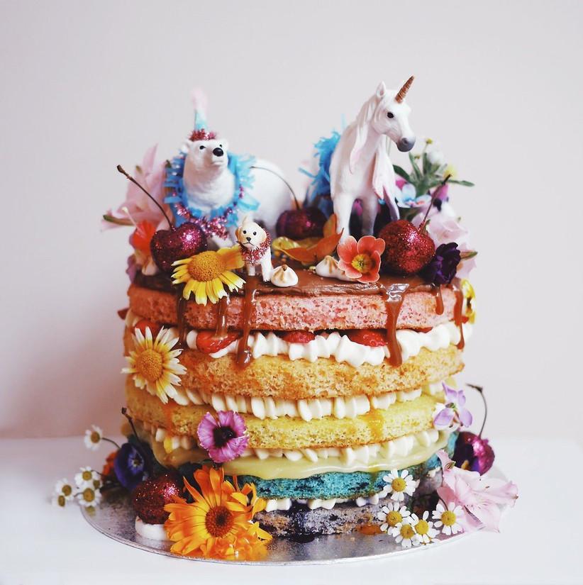 Rainbow+unicorn+edible+flower+glitter+cherry+cake