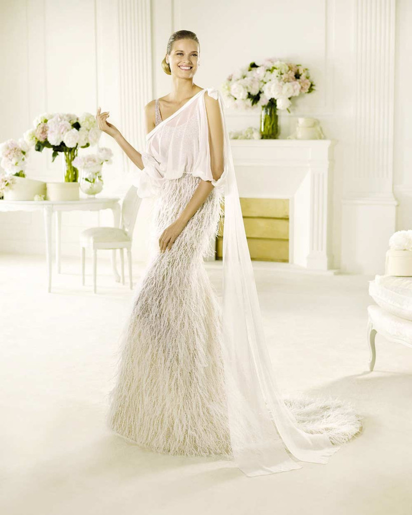wedding-dress-with-feathered-skirt