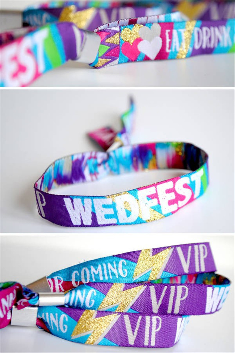 Brightly coloured VIP Wedfest wrist bands