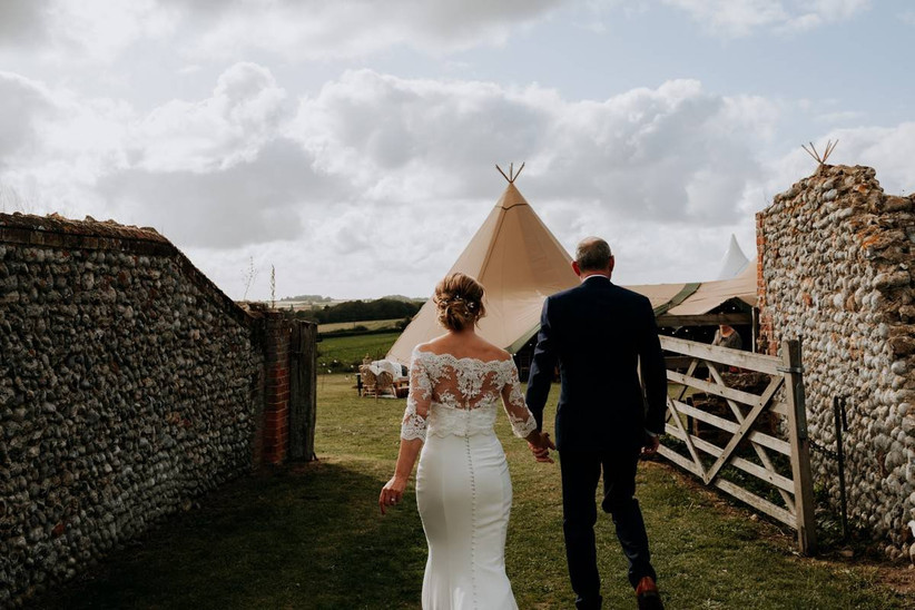 Couple at their festival-themed wedding