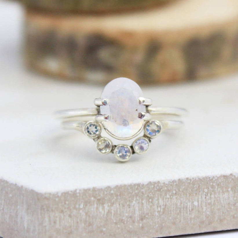Moonstone stacking ring