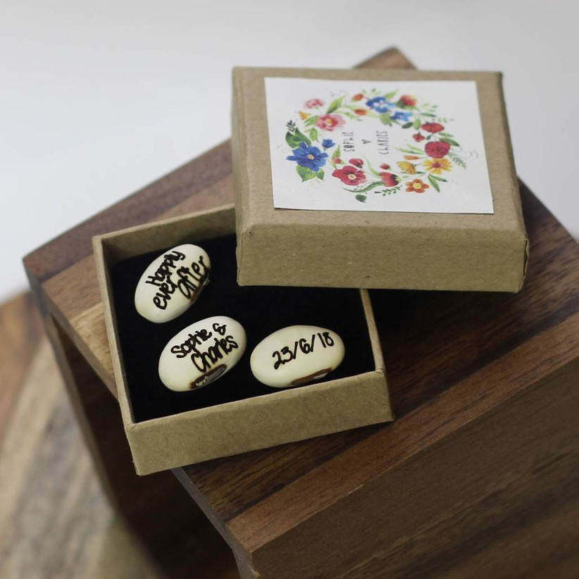 Personalised wedding favour beans