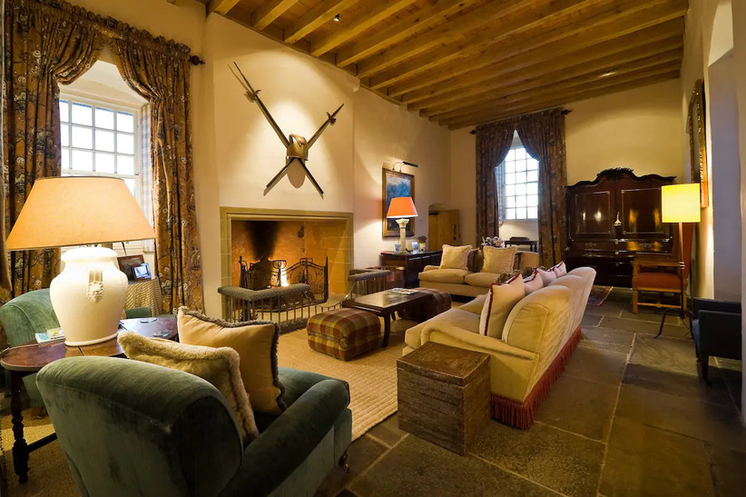 Great hall living area with medieval décor