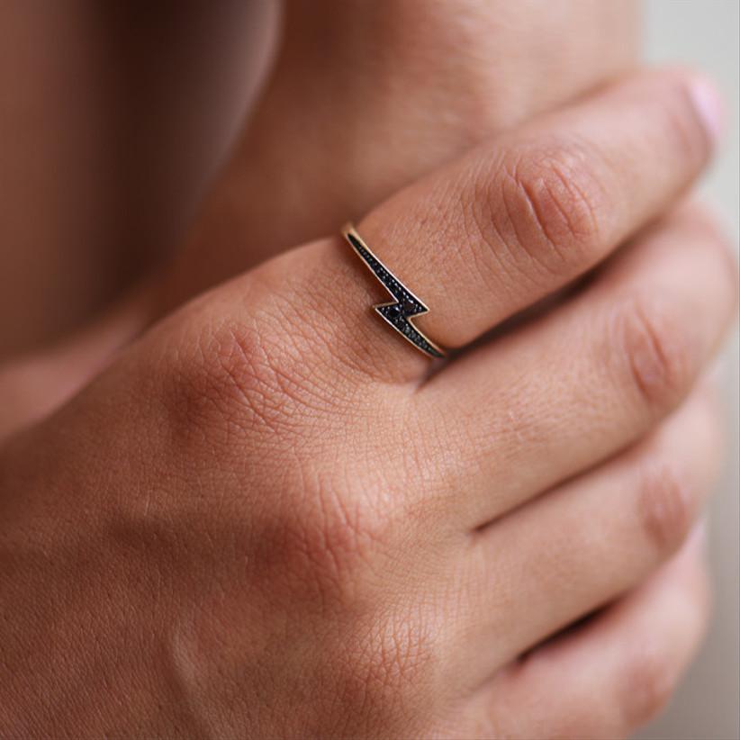 Black diamond lighting bolt ring