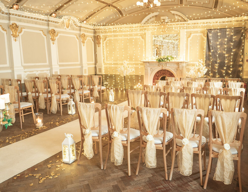 Wedding ceremony at Glasgow wedding venue Sloans with fairy lights