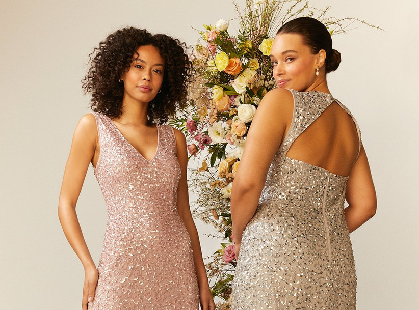 two bridesmaids in sparkly dresses