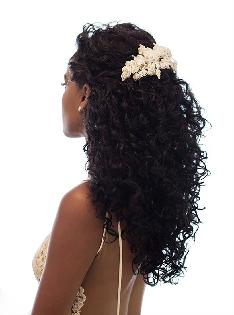 Natural curly hair with an embroidered hair piece